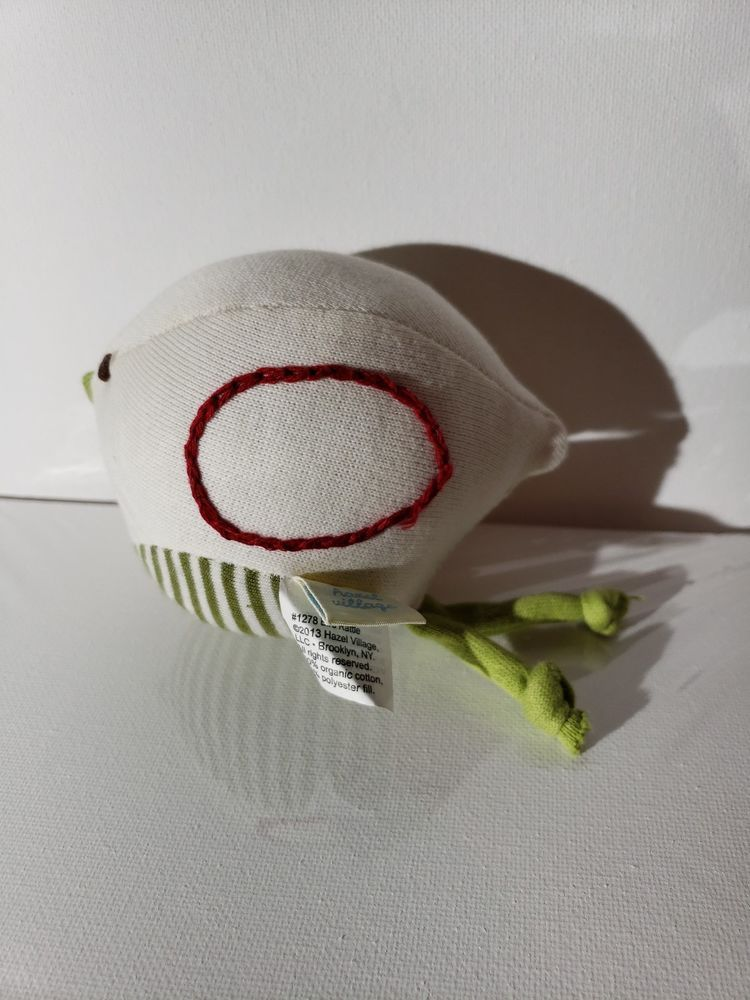 Hazel Village Organic Plush Baby Toy White Bird Rattle #1278 New Hand Made  #Handmade