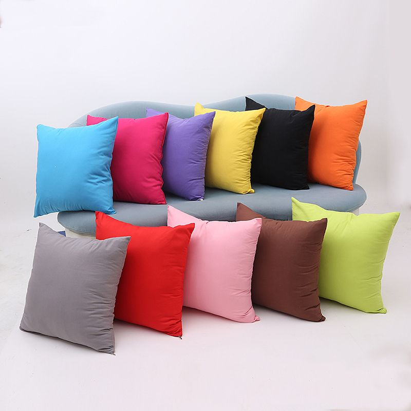 45*45cm Cheap Wholesale Solid Color Cushion Cover For Sofa Yellow Throw  Pillows Cafe Office