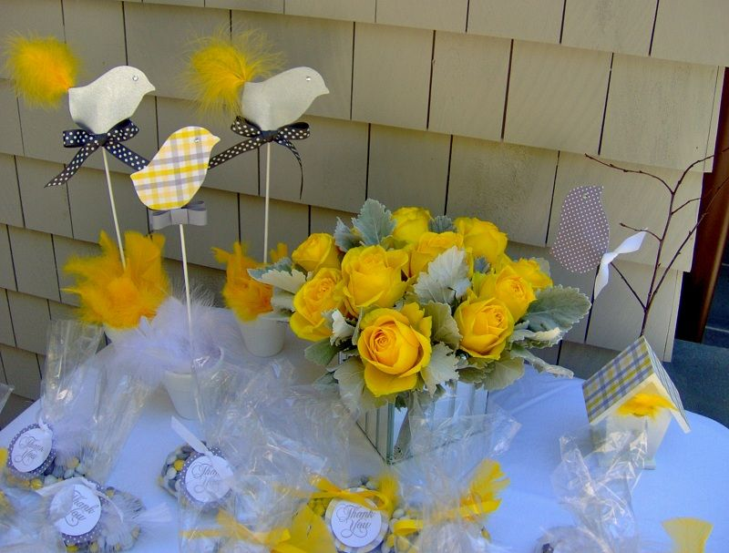 Baby Shower Favors Yellow ~ Gray and yellow baby shower favor cake table lala lissy