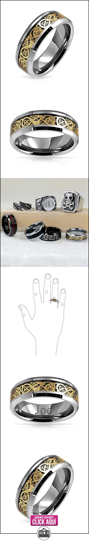 Bling Jewelry Anillo de Hombre Tungsteno Dragón Celta Negro Etampado Oro Anillo de Boda 8 mm  ✿ Joyas para mujer - Las mejores ofertas ✿ ▬► Ver oferta: http://comprar.io/goto/B00DZP5ZE8