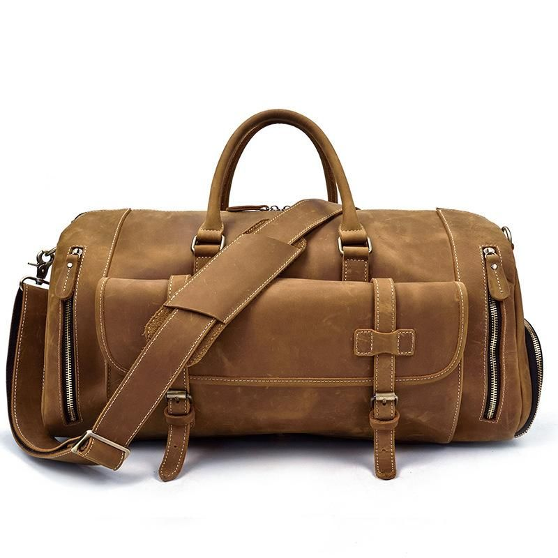 Men Leather Black Coffee Weekender Bag Vintage Travel Bag Duffle Bags  Overnight Bag Holdall Bag for men d65eee6e8d9c3
