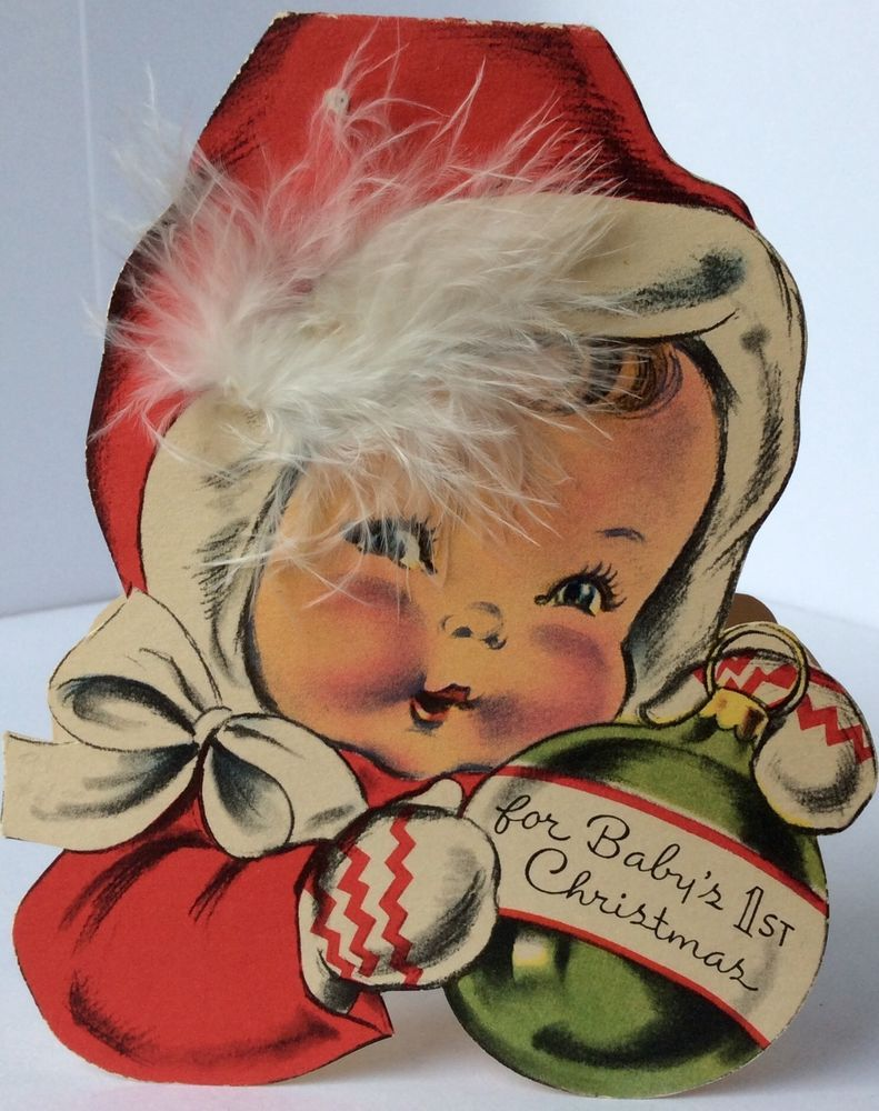 Norcross adorable baby ornament feather 40s vintage christmas greeting card