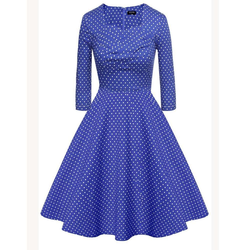 Buy women vintage style fashion dress polka dots blue white at
