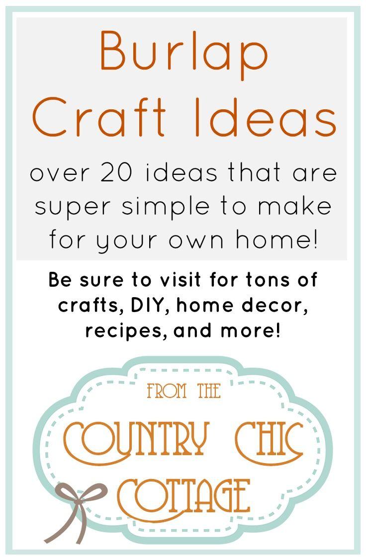 Burlap Decor and Crafts | Burlap crafts, Burlap and Craft
