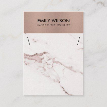 COPPER BLUSH PINK MARBLE TEXTURE NECKLACE DISPLAY BUSINESS CARD | Zazzle.com #marbletexture