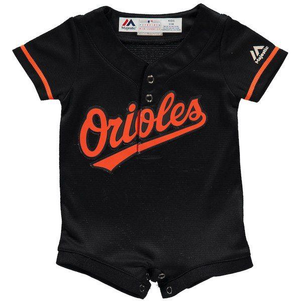 d2496038e Baltimore Orioles Majestic Newborn   Infant Alternate Cool Base Romper  Jersey - Black  BaltimoreOrioles