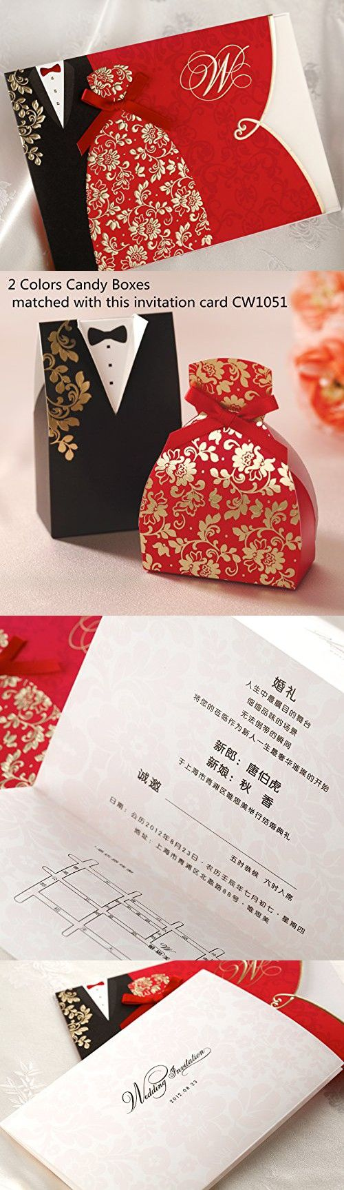 Wishmade 50X Traditional Chinese Style Red Wedding Invitations Cards ...