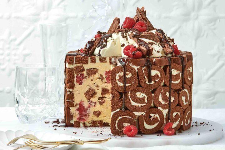 Easy tim tam and raspberry icecream cake recipe