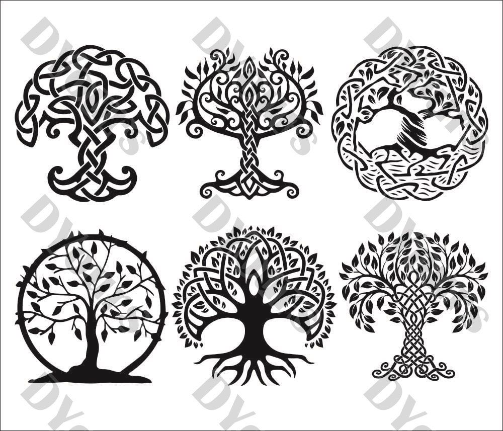 Celtic Ornament Trees - Floral Pattern Trees Tracery Wall Art Plans ...