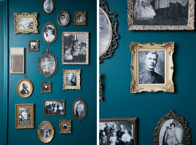 gold frames - teal wall
