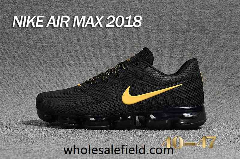 competitive price 440c0 b5796 New Nike Air Max 2018 KPU Black Gold Men Shoes