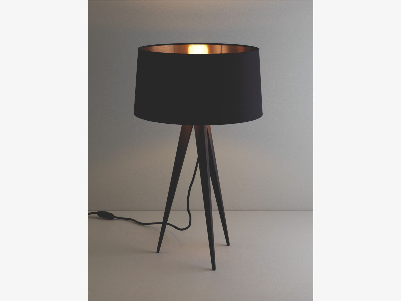 Yves Blacks Metal Black Tripod Table Lamp Base Habitatuk Yves