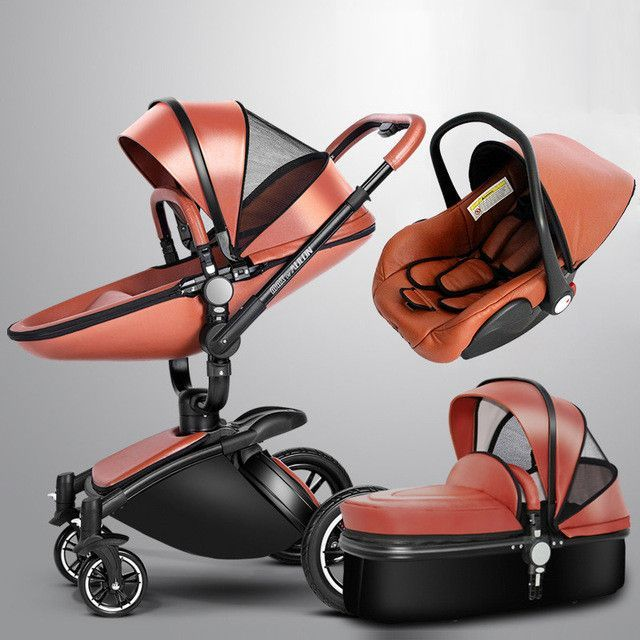 Aulon Brand Baby Stroller 3 In 1 With Car Seat High View Pram For