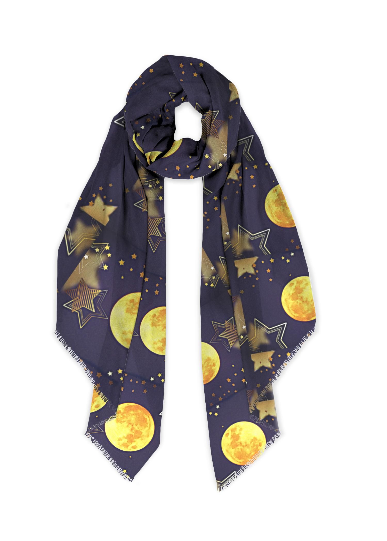 Modal Scarf Theme Full Moon 100 Modal Silk This Scarf S Botanic Origin Makes It Eco Friendly And Incredibly Soft Eac Moon Design Silky Scarf April White