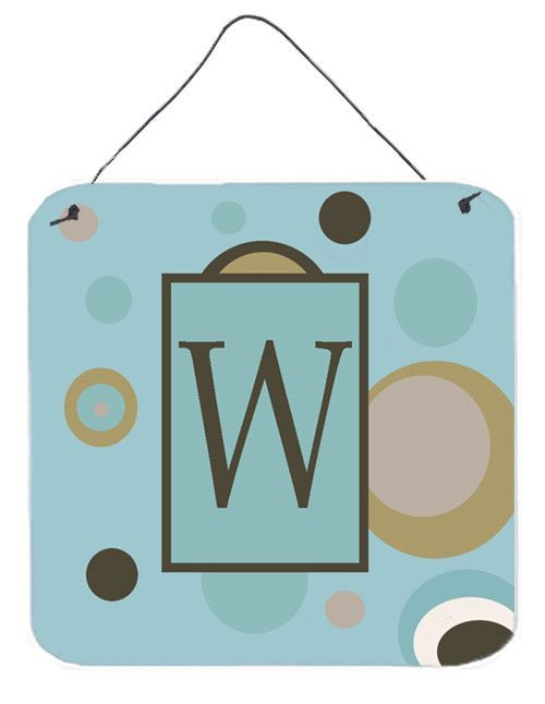 Letter W Initial Monogram - Blue Dots Wall or Door Hanging Prints