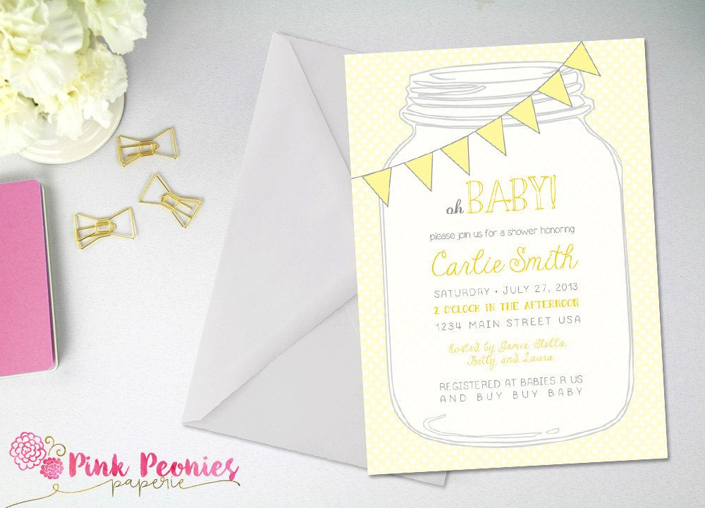 Baby Shower Invitation, Gender Neutral Baby Shower, Yellow and Grey ...