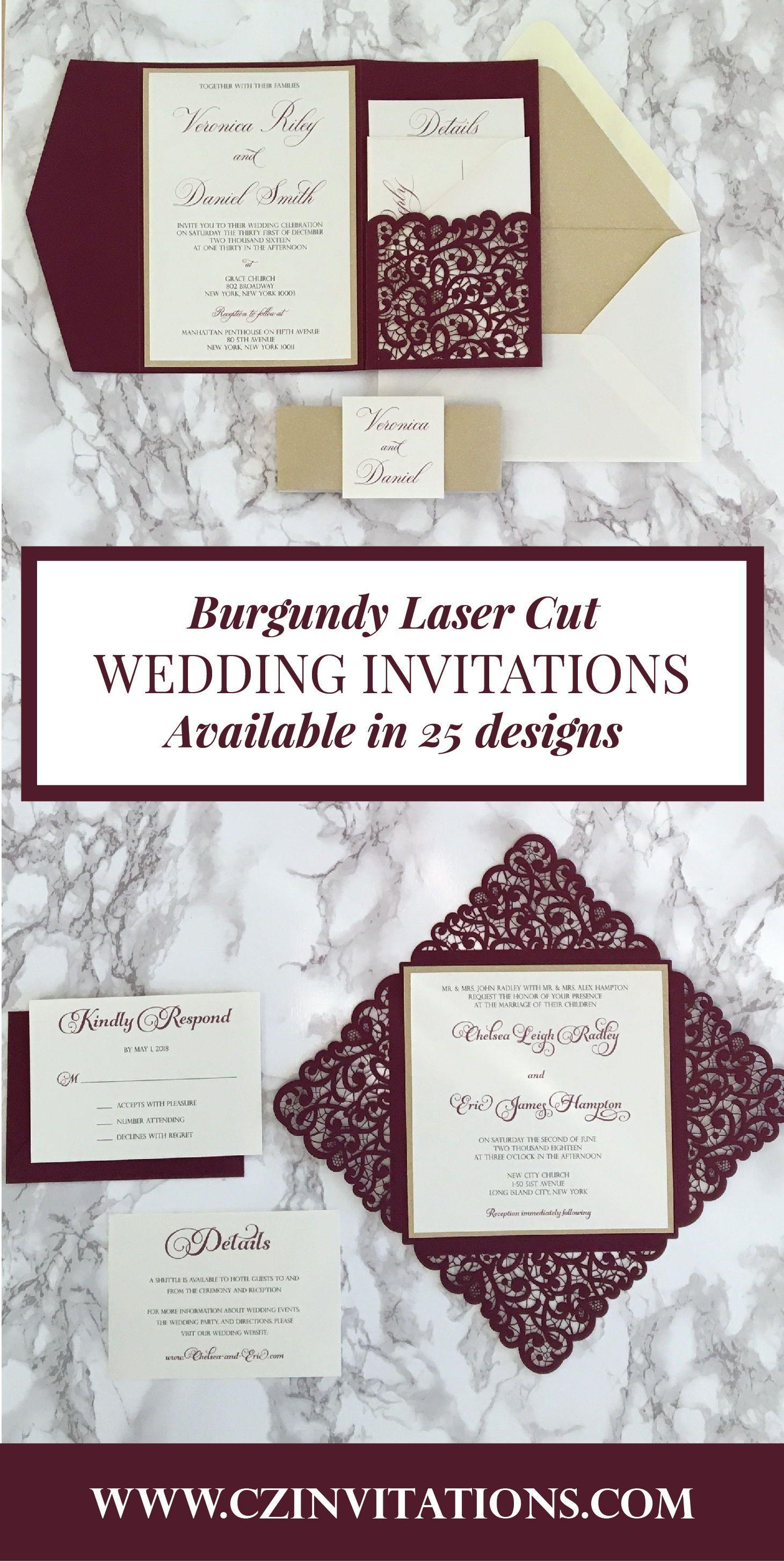 Burgundy Laser Cut Petal Card Wedding Wedding