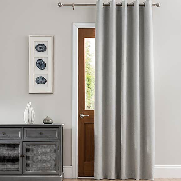 Luna Brushed Dove Grey Blackout Eyelet Door Curtain In 2020 Door Curtains Gray Blackout Curtains