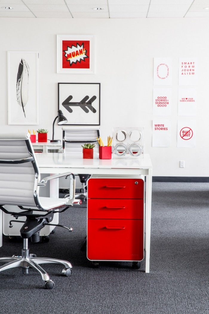 decorist sf office 5. The Information Office In San Francisco - Red West 18th File Cabinets + Pen Cups From Decorist Sf 5