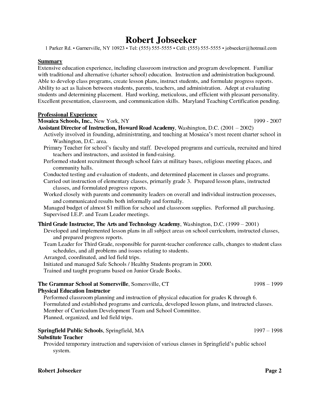 Examples For Language Teachers Sample Resume Objectives Template