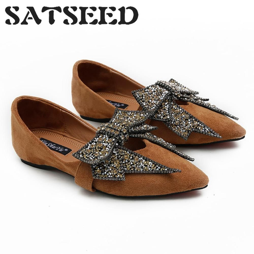 1838c42c7 Woman Flat Shoes 2018 Autumn New Flock Leather Women Shoes Pointed Toe Shoes  Crystal Bow Knot
