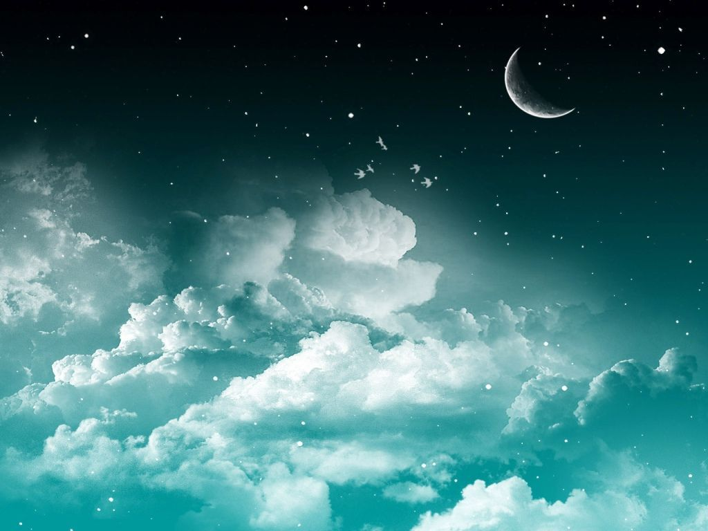 Moon 3d Wallpaper Wallpup Com Ocean At Night Clouds Teal 3d Wallpaper