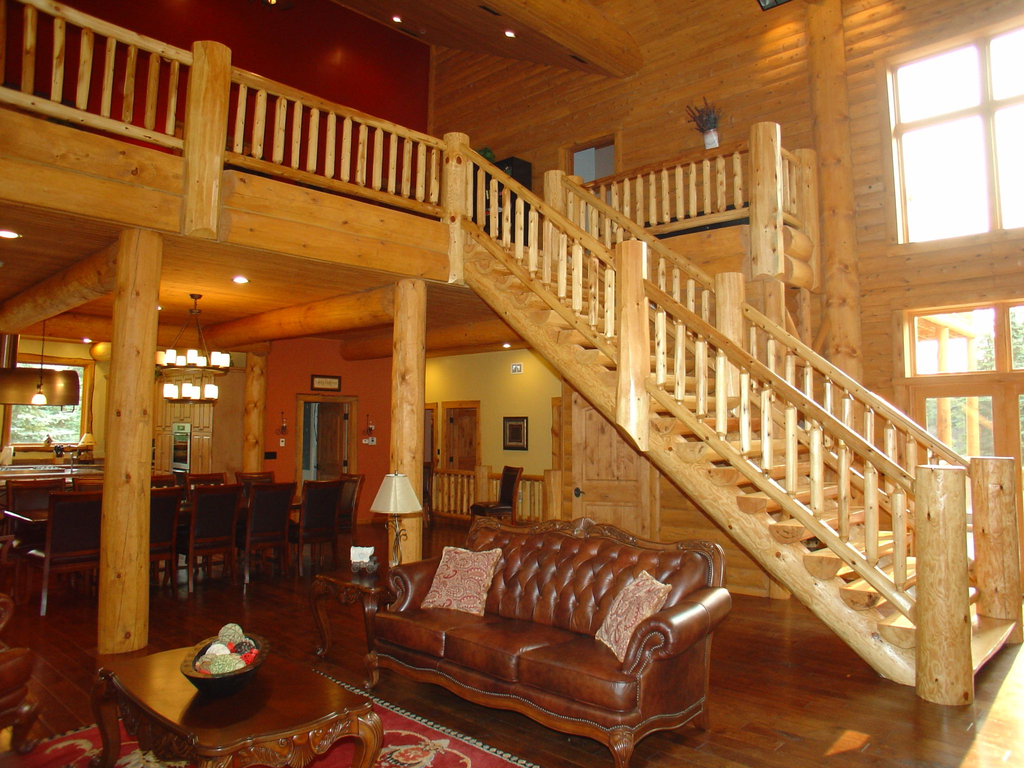 Best Hand Peeled Cedar Log Stair Railings Cedar Log Stair 400 x 300