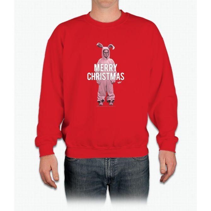A Christmas Story Merry Christmas Ralphie Bunny Clipped Crewneck Sweatshirt