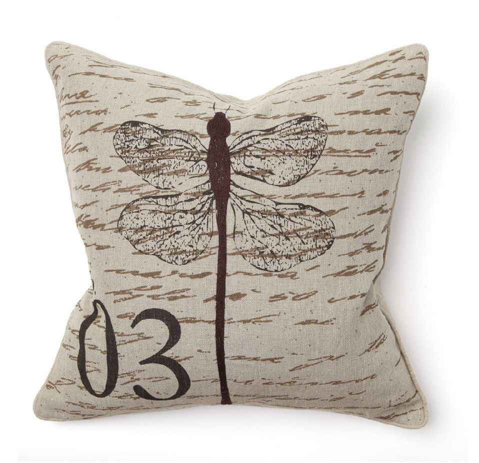 Embroidered Dragonfly Pillow Pillows Dragonfly Prints