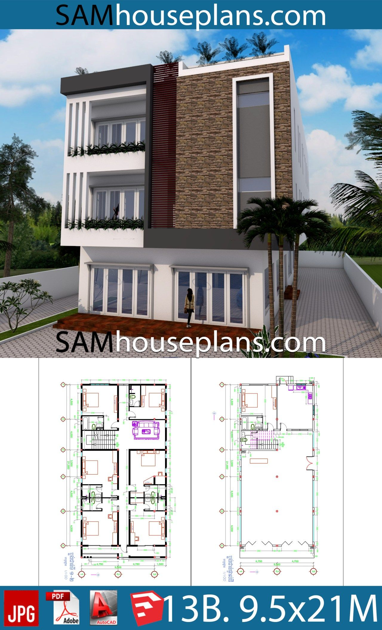 House Plans 9 5x21 With 13 Bedrooms Sam House Plans House Plans House Home Design Plan