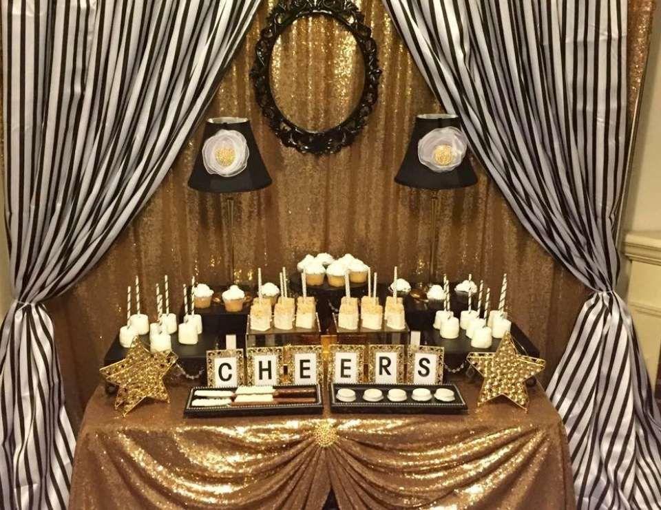 Black And White Stripes With Gold Sparkle Birthday Glitz