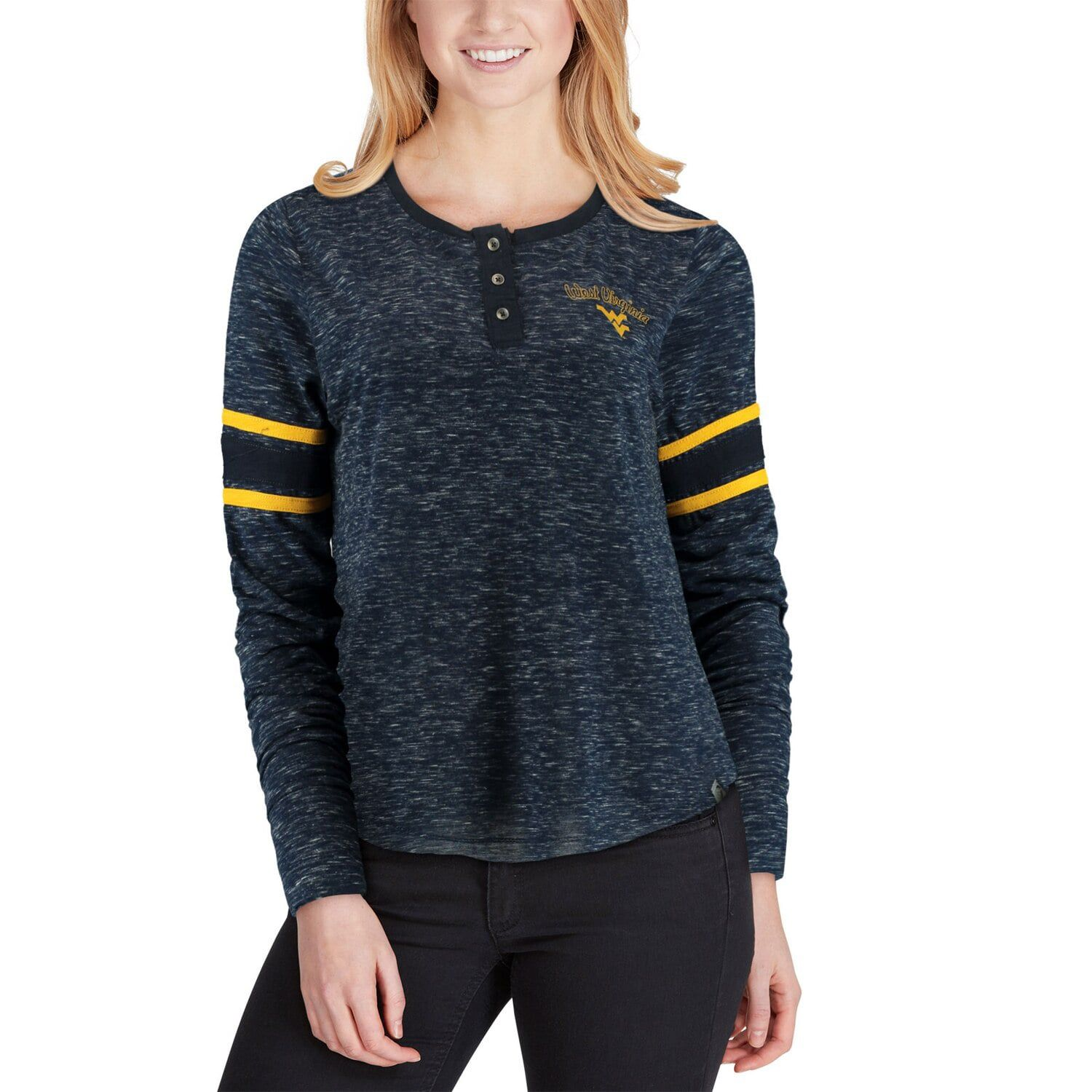 Women's Colosseum Navy West Virginia Mountaineers Stag Leap Sleeve Striped Long Sleeve Henley T-Shirt #westvirginia