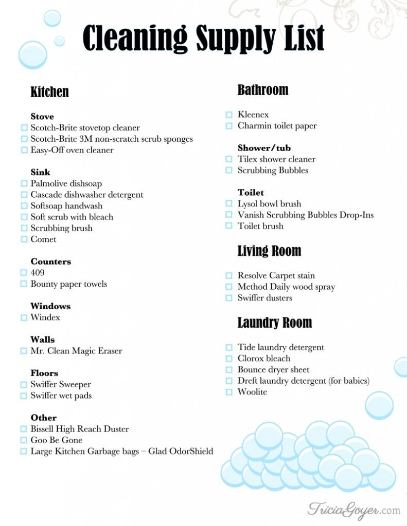 Cleaning Supply List Printable Pinterest Blog Cleaning - Bathroom cleaning supplies list