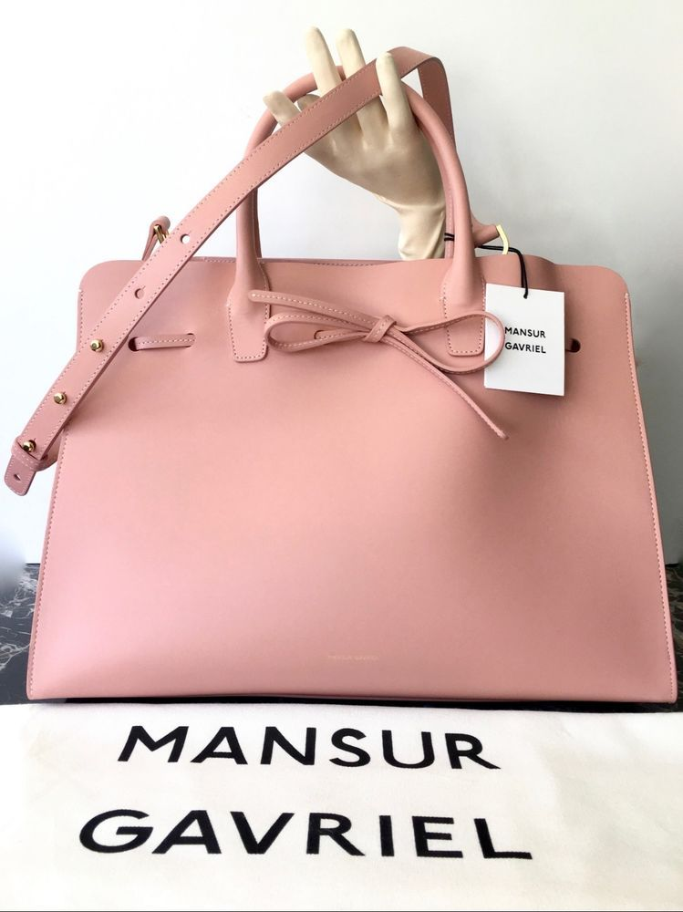 6a9edfcfb824 NEW  1295 MANSUR GAVRIEL LEATHER LARGE SUN BAG PINK HANDLE TOTE LADY LIKE  NWT