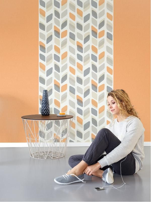 Papier Peint A Motif Retro Orange Et Gris Collection Unplugged