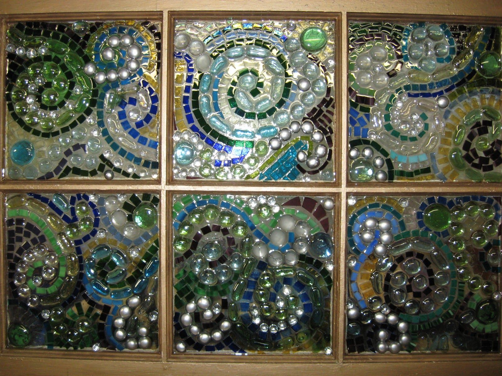 Mixed Media Mosaic On Old Chippy Window Glue Tinted
