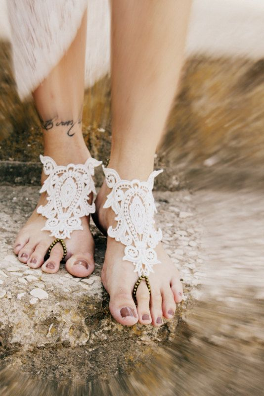 7da96e3a474cc Ivory Off white lace and bronze Barefoot Sandals Gypsy Hippie Vintage  inspired Beach wedding foot jewelry slave Anklets on Etsy