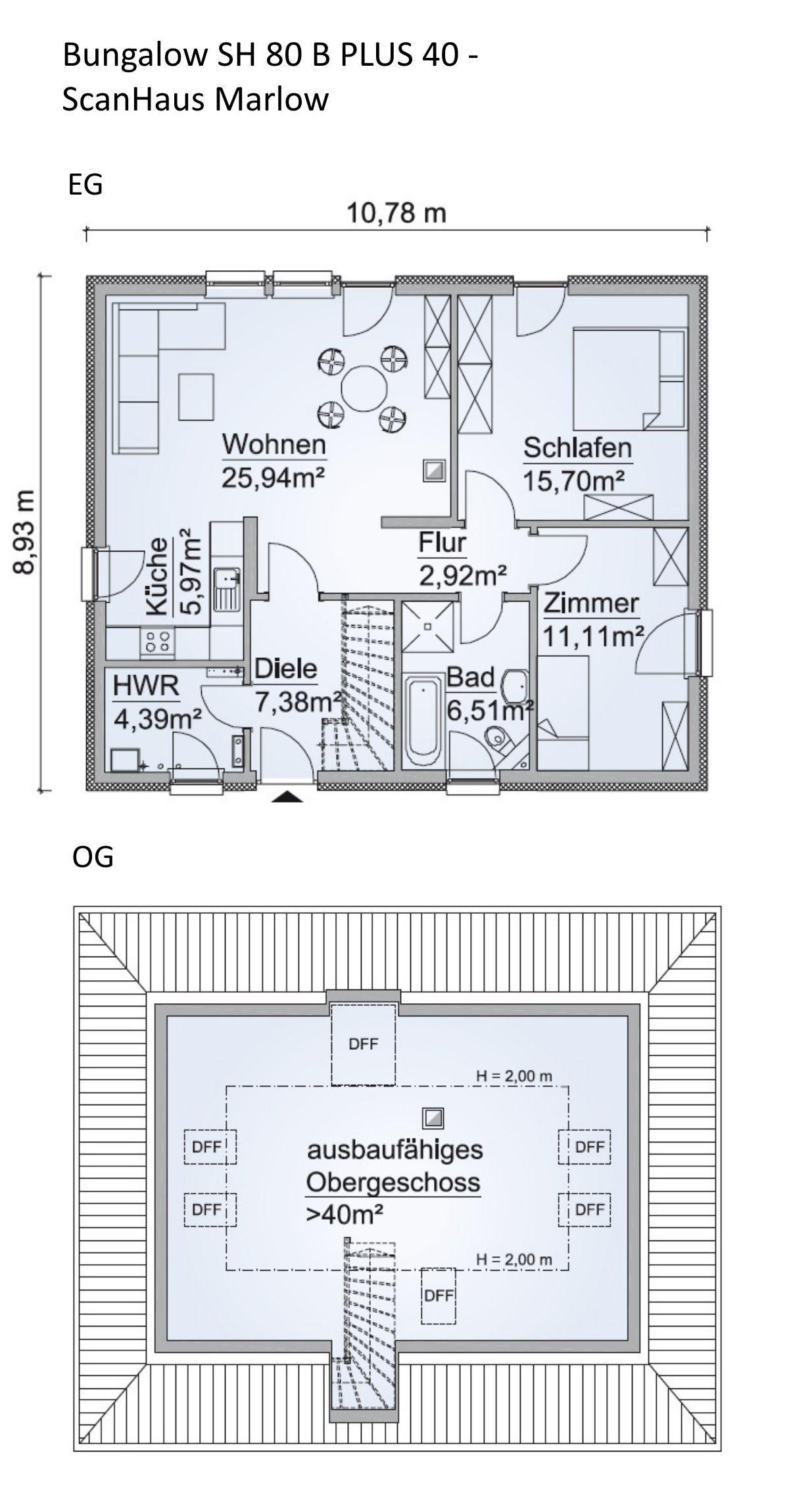 Grundriss Bungalow mit Ausbaureserve im Dachgeschoss
