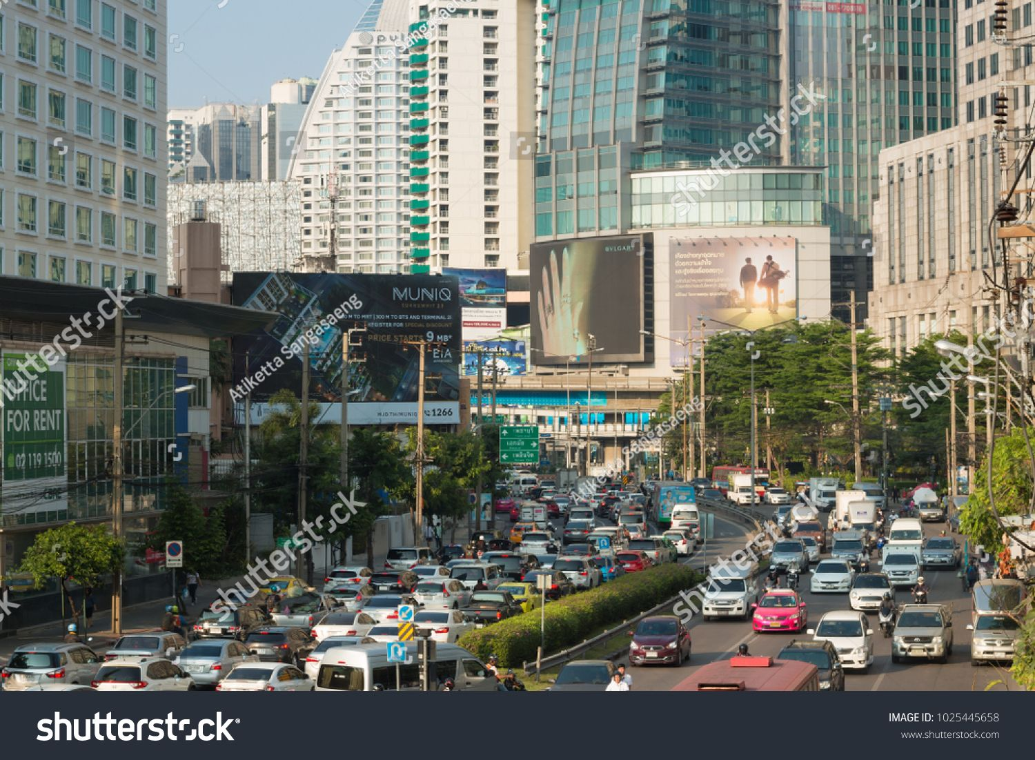 traffic at Asoke junction on evening Bangkok Thailand 6 february 2018