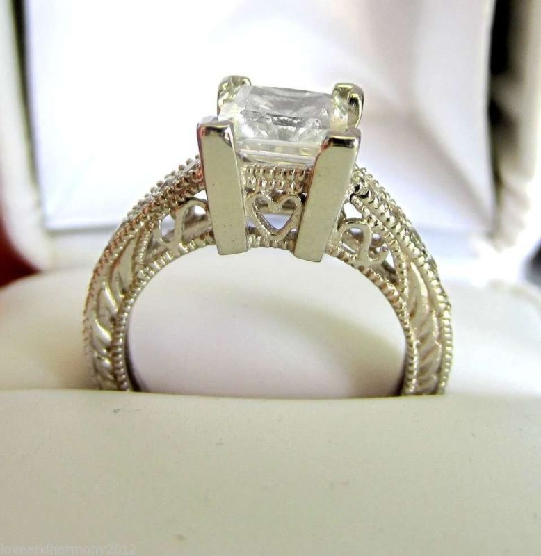 Vintage style Princess cut Giamond Engagement Ring 14K SOLID White Gold size 7