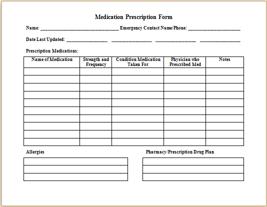Medical prescription form at for Medication signing sheet template