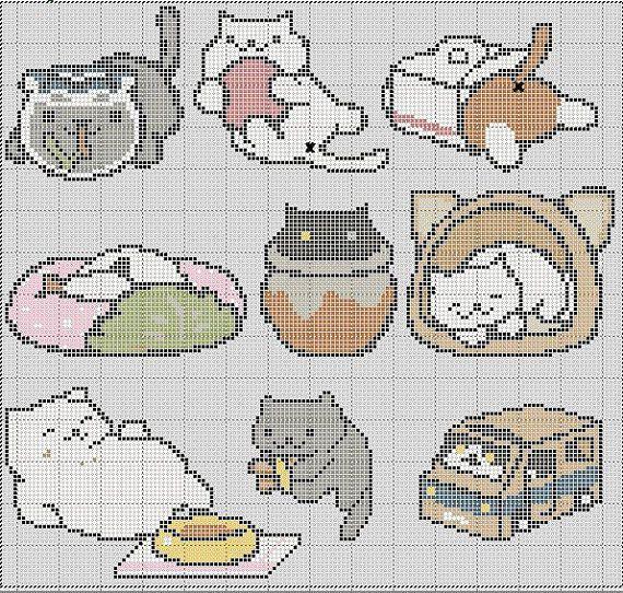 9 in 1 Neko Atsume Cross Stitch Pattern by TheSoftScientist | neko ...