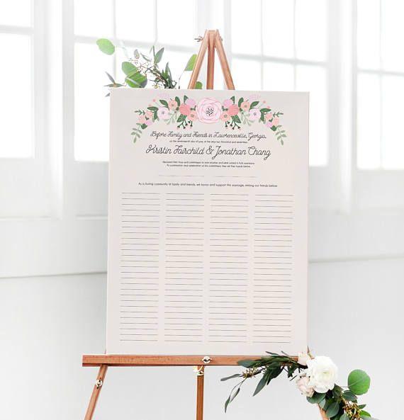 Rustic Quaker Marriage Certificate - Wedding Guest Book Alternative - copy free fake marriage certificate