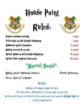 Harry Potter Classroom House Points Rules Harry Potter Classroom Harry Potter Classes Harry Potter Day