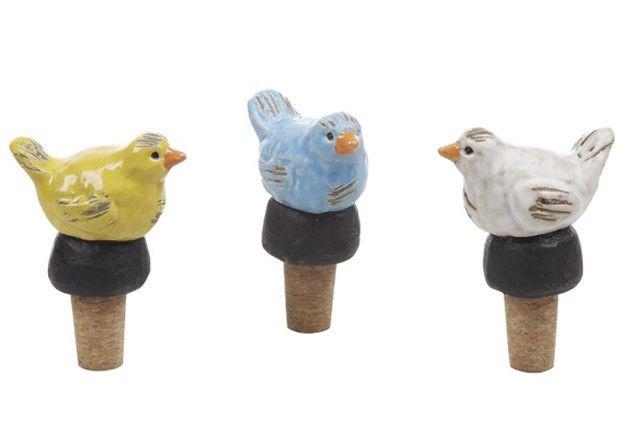 Ceramic bird bottle toppers