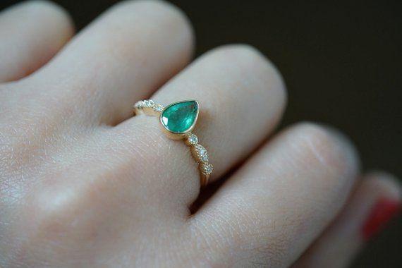 Emerald Engagement Ring Gold Emerald Engagement Ring Vintage Antique