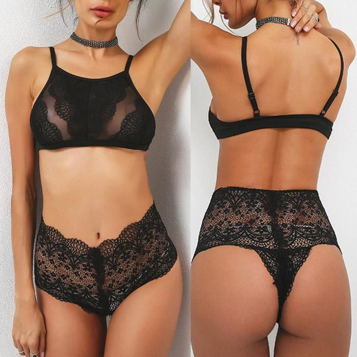 49fe33e013 Women Black Floral Lace Halter Push Up Bra+Pants Underwear Set Tight Chest