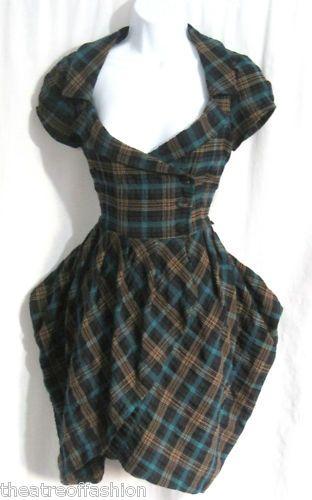 TARTAN DRESS STEAMPUNK VICTORIAN BUSTLE 40s WAR BRIDE 50s ADORABLE BEAUTY SEXY