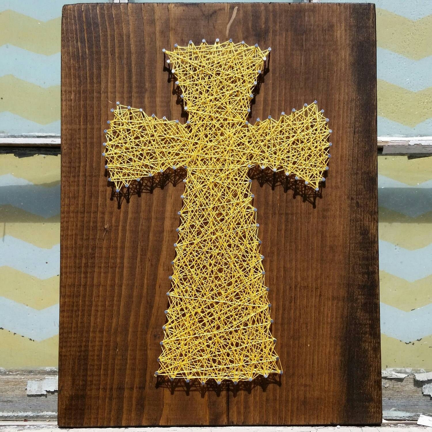 String Art Cross, Yellow Wall Art, Christian String Art, Religious ...