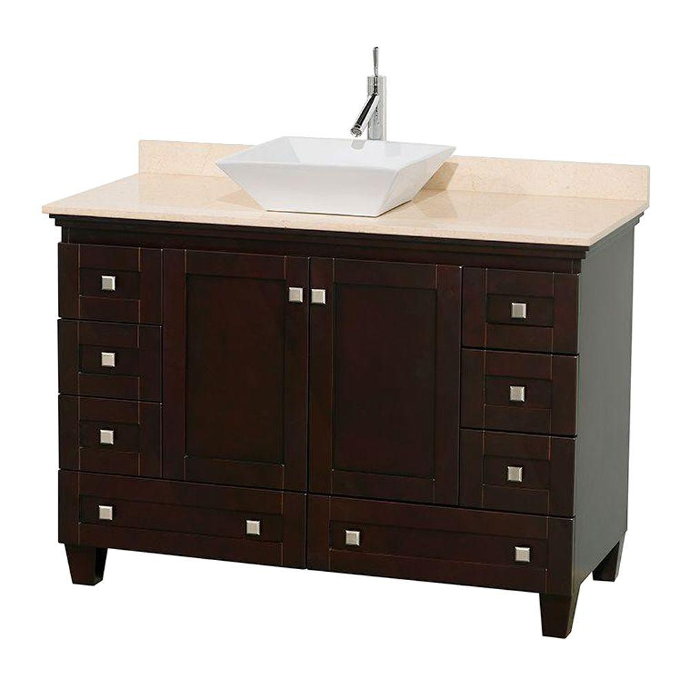 Wyndham Collection Acclaim 48 In W Vanity In Espresso With Marble Vanity Top In Ivory And White Sink Wcv800048sesivd2wmxx Single Bathroom Vanity Marble Vanity Tops Black Granite Sink